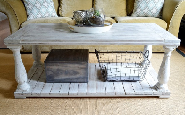 Restoration Hardware knock-off salvaged wood balustrade coffee table tutorial