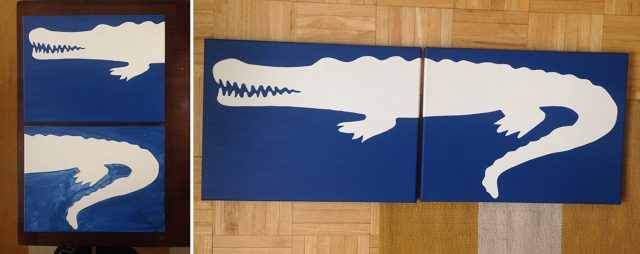 diy alligator painting blue layer