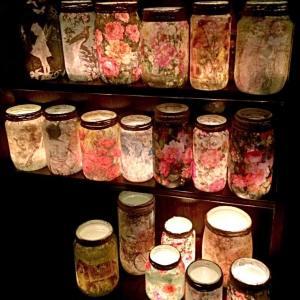 Mason Jars lanterns lit up