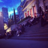 cool kids hang out on the steps_Vancouver Art Gallery Opening