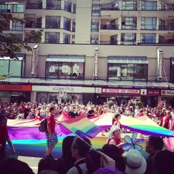 Rolling rainbow flag on Robson Street