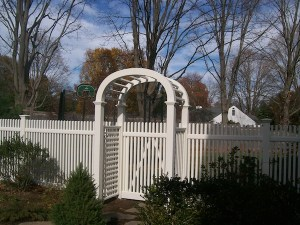 wood fence gate with trellis