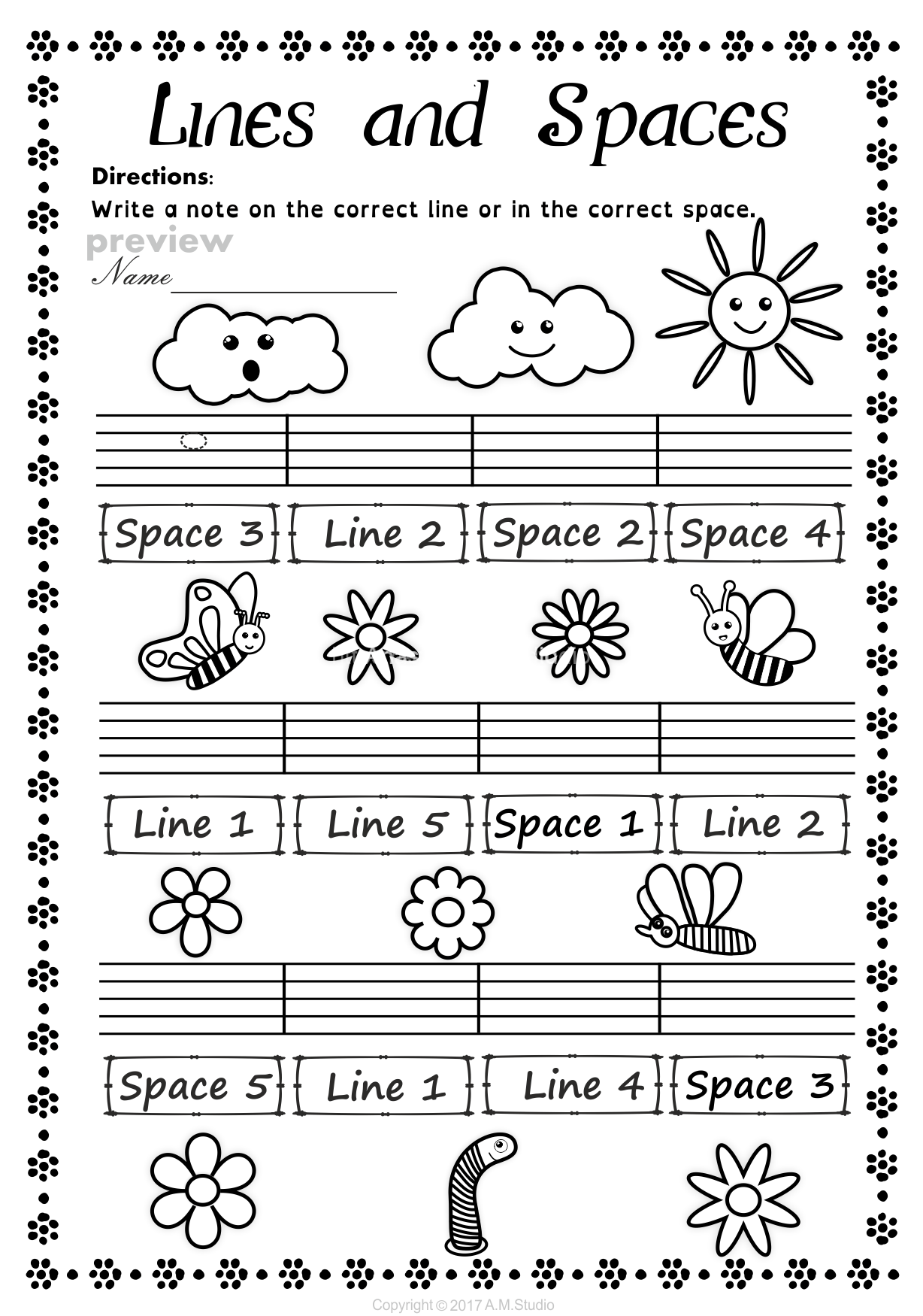 Lines And Spaces Spring Worksheet Pack12 Anastasiya