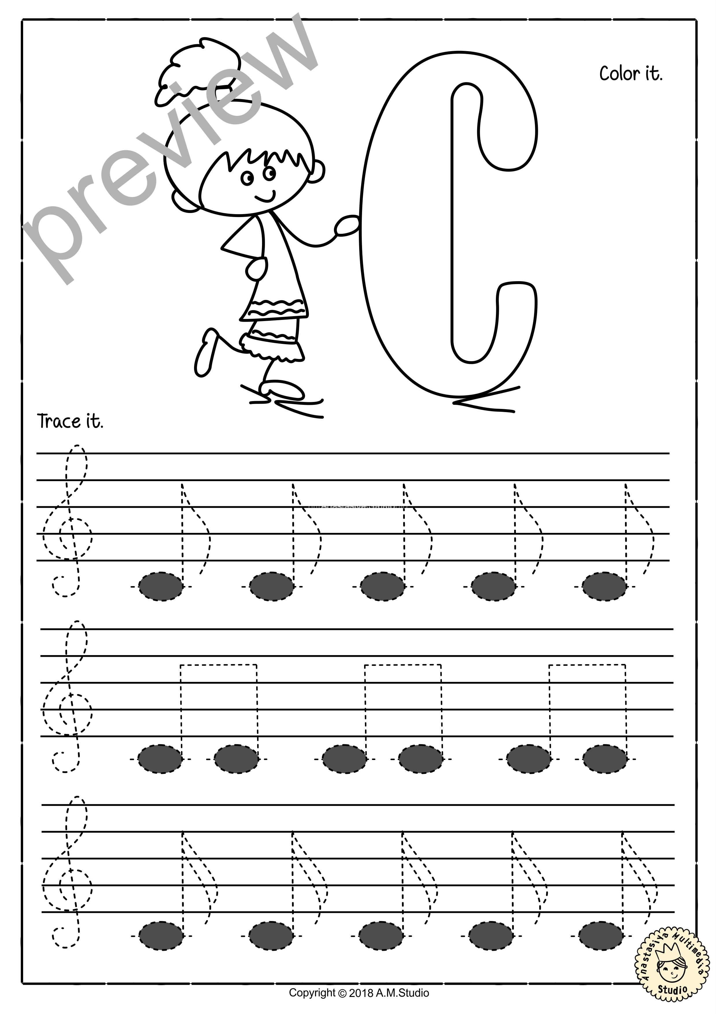 Tracing Music Notes Worksheets For Kids Treble Clef 3 Anastasiya Multimedia Studio