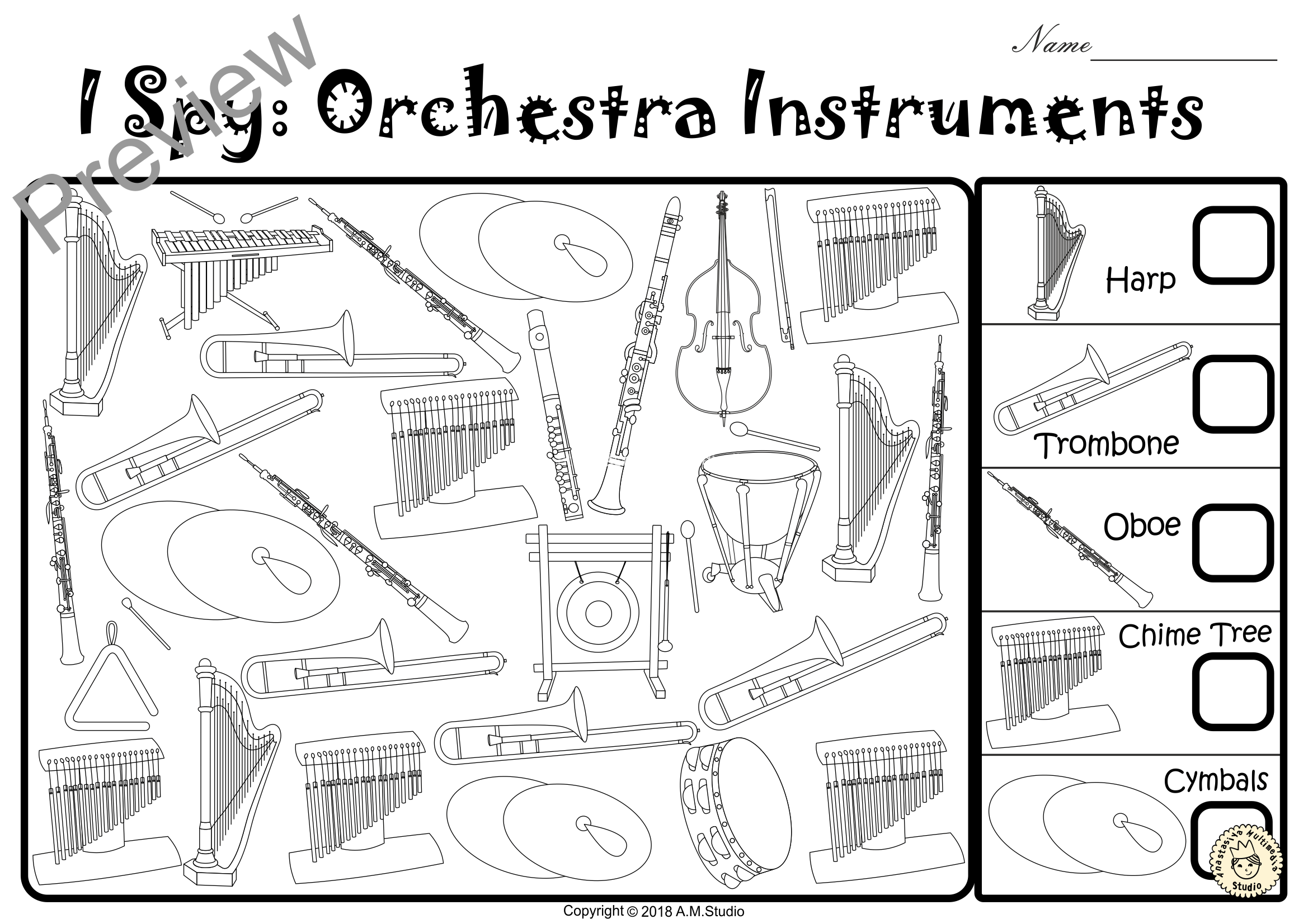 I Spy Orchestra Instruments Coloring Games Set 1 3