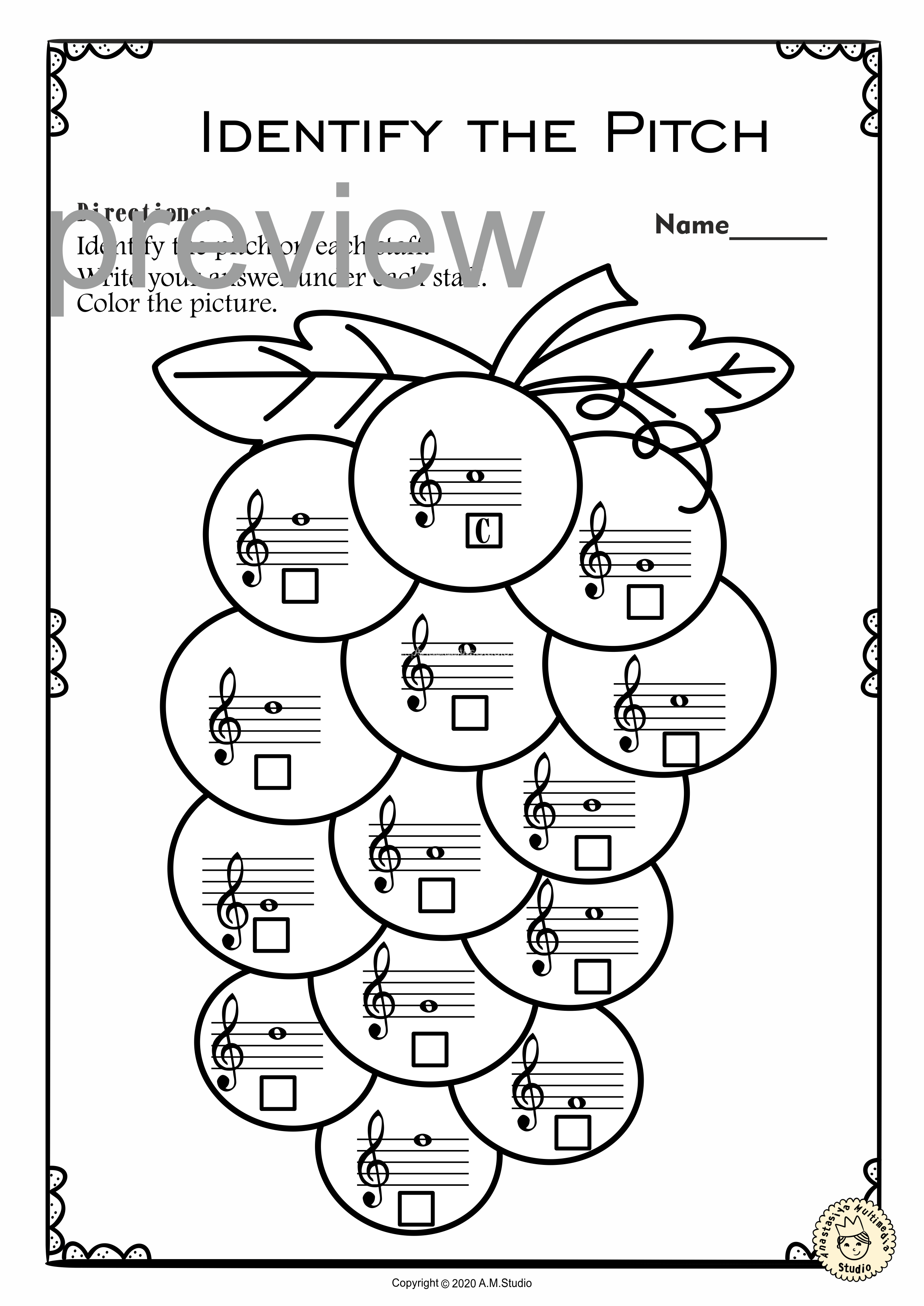 Treble Clef Note Naming Worksheets For Summer With Answers