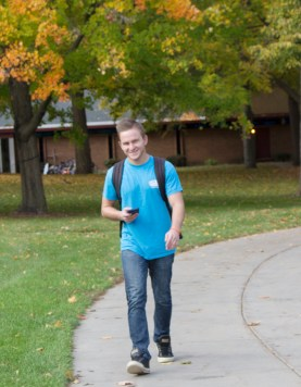 Central Michigan University senior, Tyler, walks to physics class in Pearce Hall, on the campus of Central Michigan University in Mt. Pleasant, Michigan on October 18, 2016.