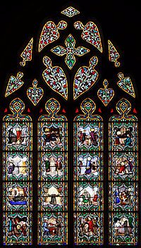The life of St Anselm told in 16 medallions in a stained-glass window in Quimper Cathedral, Brittany, in France