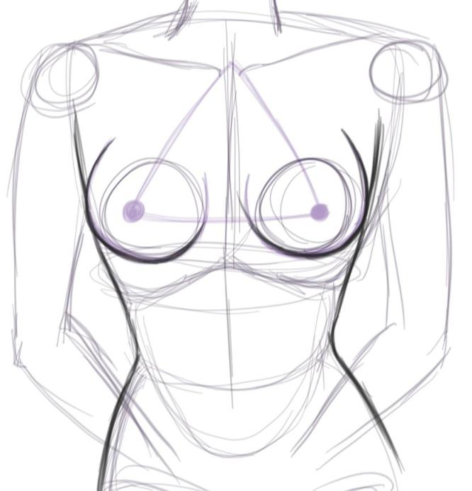How to Draw Breasts Outline