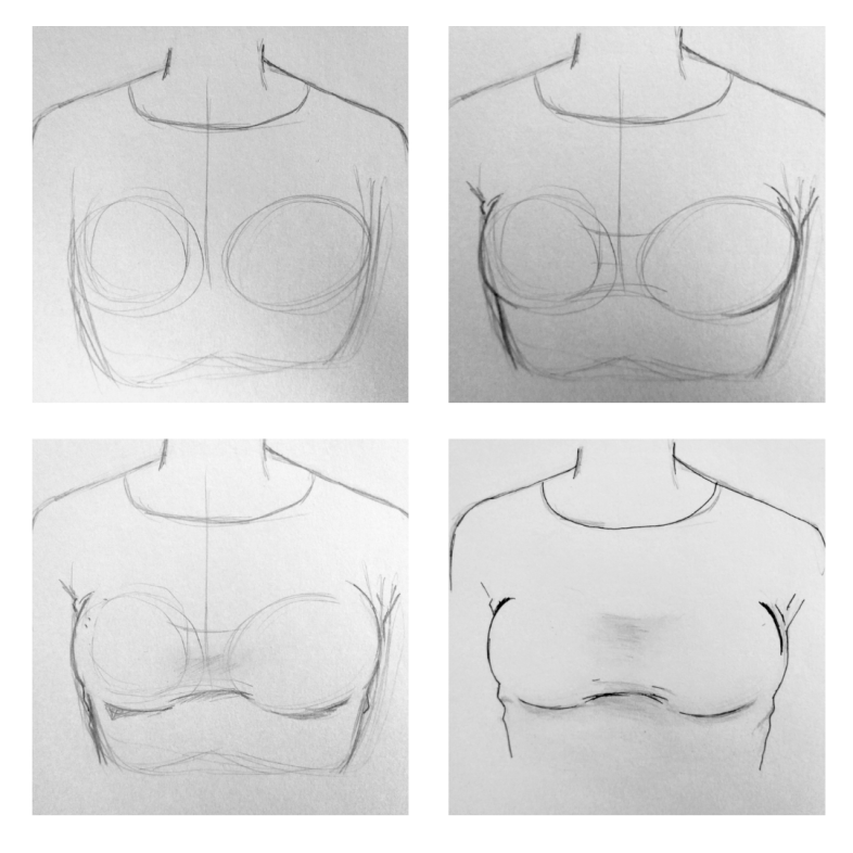 How to Draw Breasts under a shirt with a bra