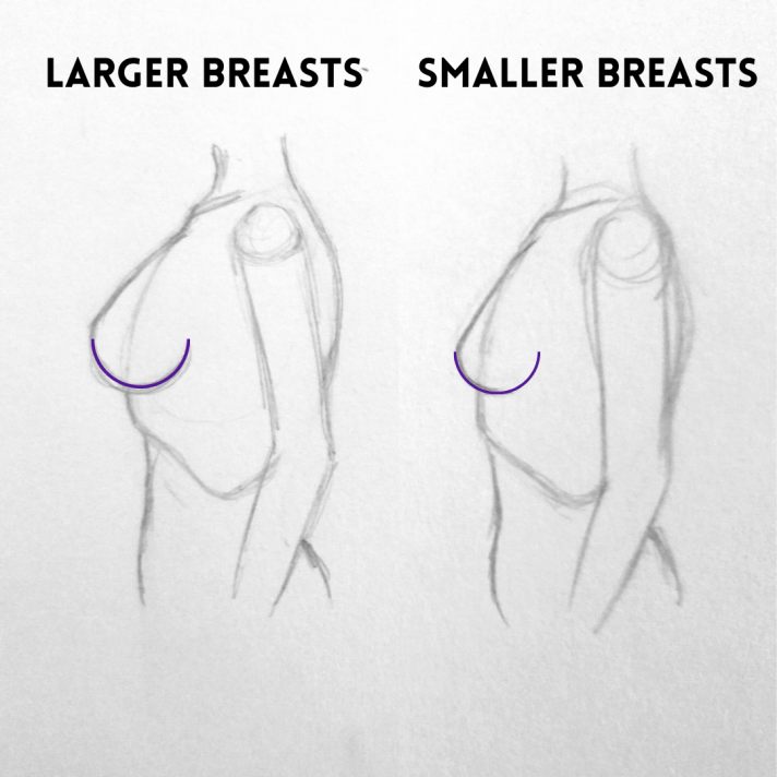 Large and Small breasts from a side view