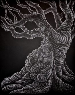 Gnarled Dark, 2013, white charcoal on black mat board, by Jennifer Ramey