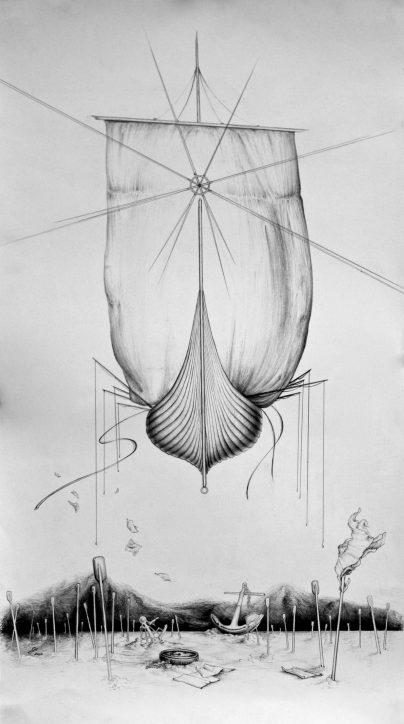 Direction Intention, graphite on paper, 2009, by Jennifer Ramey