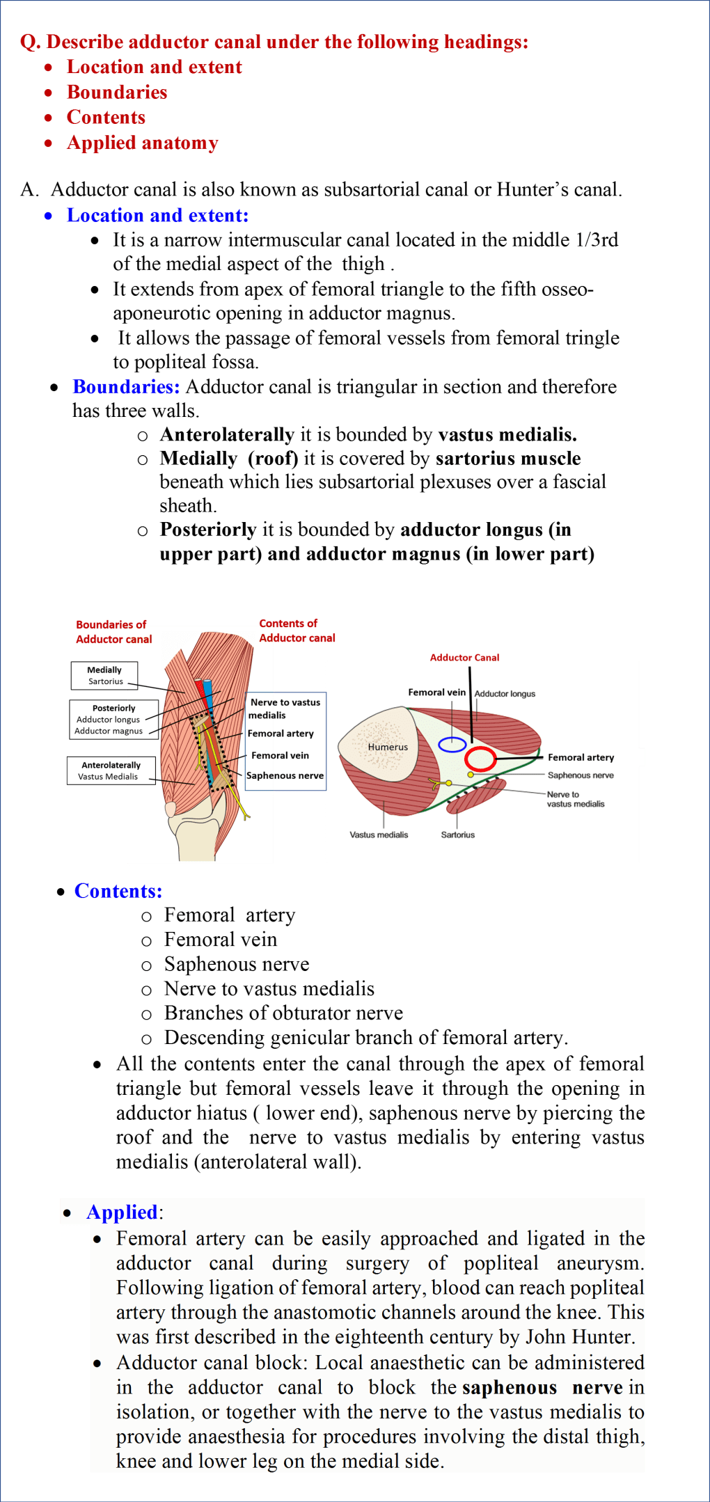 Adductor canal- boundaries and contents
