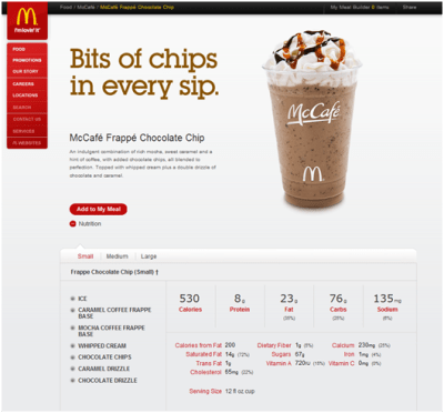 Screen shot of McDonald's frappe nutrition information