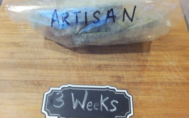 Artisan bread after three weeks in a plastic bag. Part of the Great Bread Experiment.