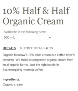 Ingredients in Organic Meadow 10% cream