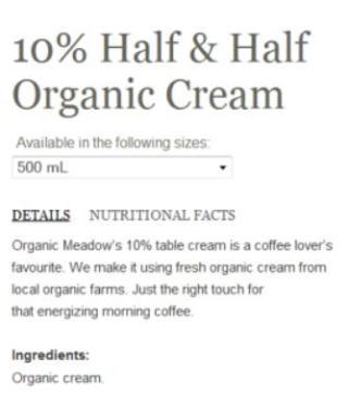 Ingredients in Organic Meadow 10% cream