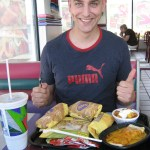 My hubbie Mike eating Taco Bell