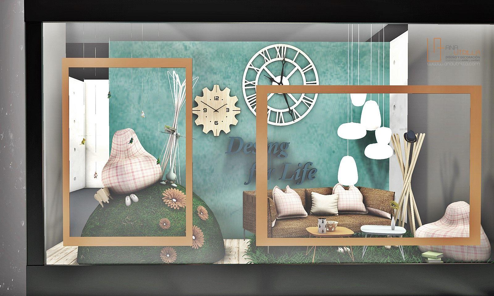 Render e infografía 3D de espacio de escaparate diseñado por Ana Utrilla