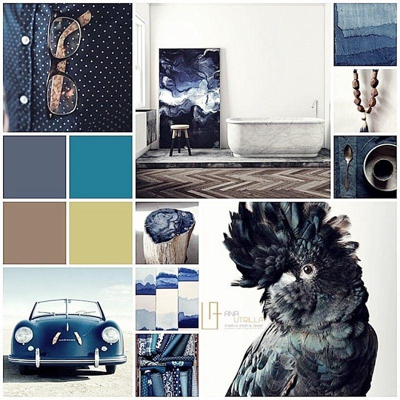 Moodboard proyecto de interiorismo de estilo masculino por Ana Utrilla Diseño de Interiores