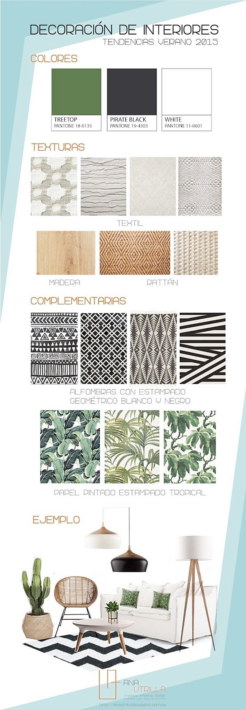 Infografía resumen de cómo decorar con estilo tropical o boho chic nuestros espacios por Ana Utrilla