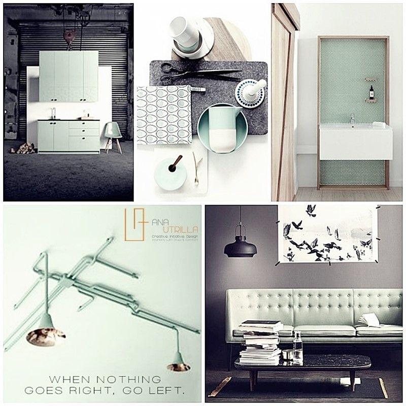 Moodboard para decoración de interiores de estilo nórdico y verde mint por Ana Utrilla