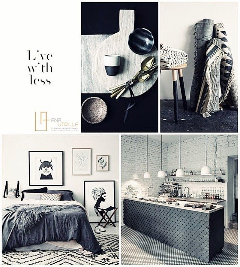 Moodboard ambientes neutros de estilo masculino y nórdico en blanco y negro por Ana Utrilla