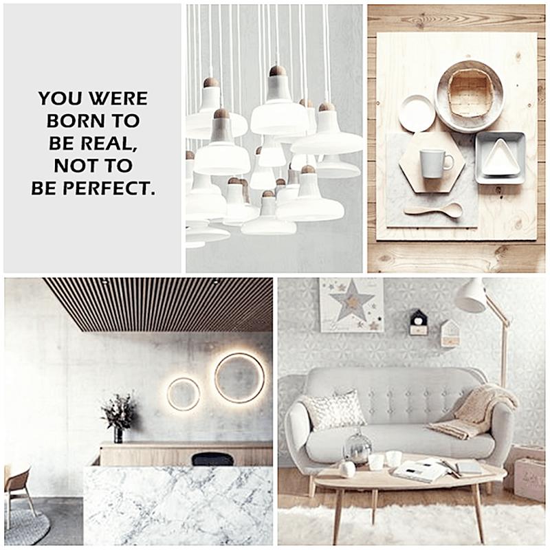 Moodboard para proyecto de interiorismo en gris y madera de estilo nórdico por Ana Utrilla