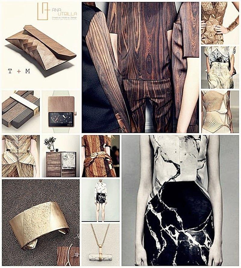 Tendencia en moda 2015 estilo ecléctico elegante a través de estampados de madera y mármol