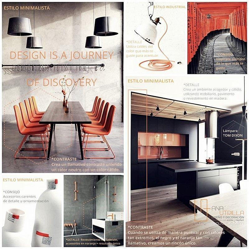 Decoración de interiores en estilo industrial en contraste de gris y naranja