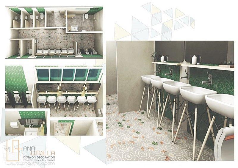 Aseos para espacio coworking proyecto de interiorismo por Ana Utrilla