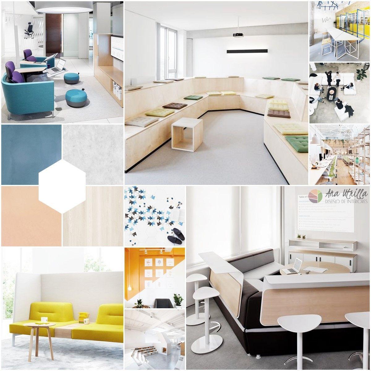 Diseño de interiores coworking de ideas previas en colores, estilo, materiales y mobiliario por Ana Utrilla