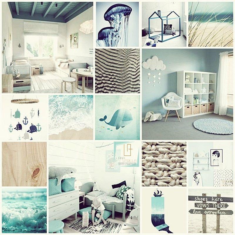 Moodboard decoración de interiores de habitación infantil por Ana Utrilla