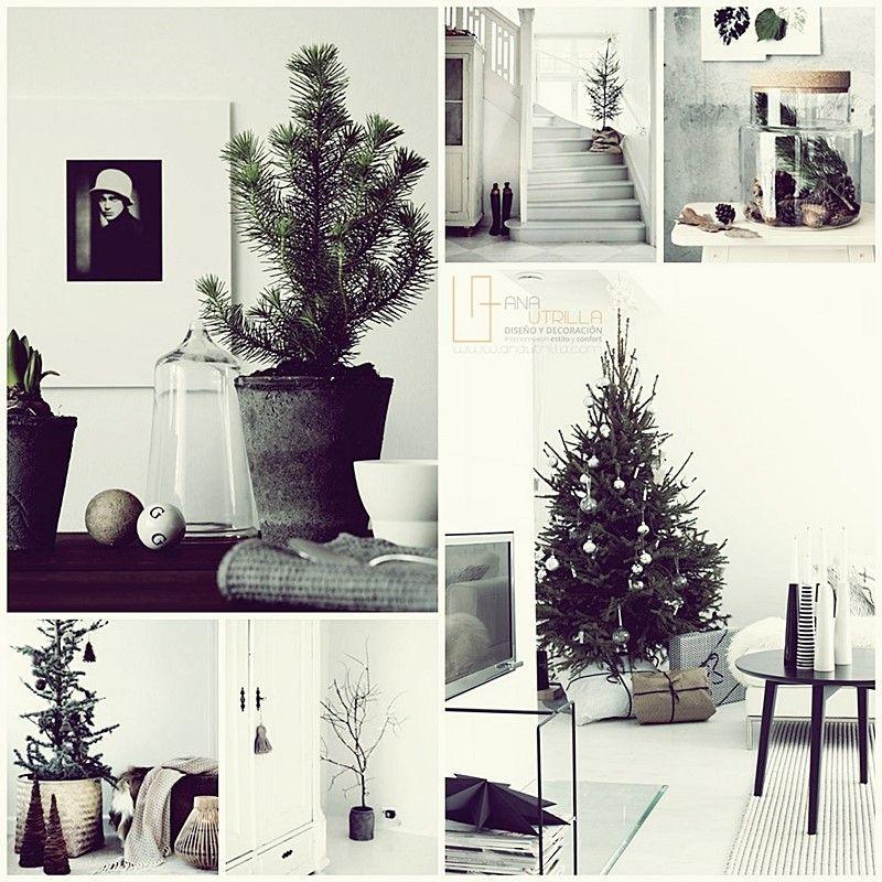 Decoración DIY para navidad de estilo rústico nórdico en blanco y negro minimalista por Ana Utrilla Diseño de Interiores