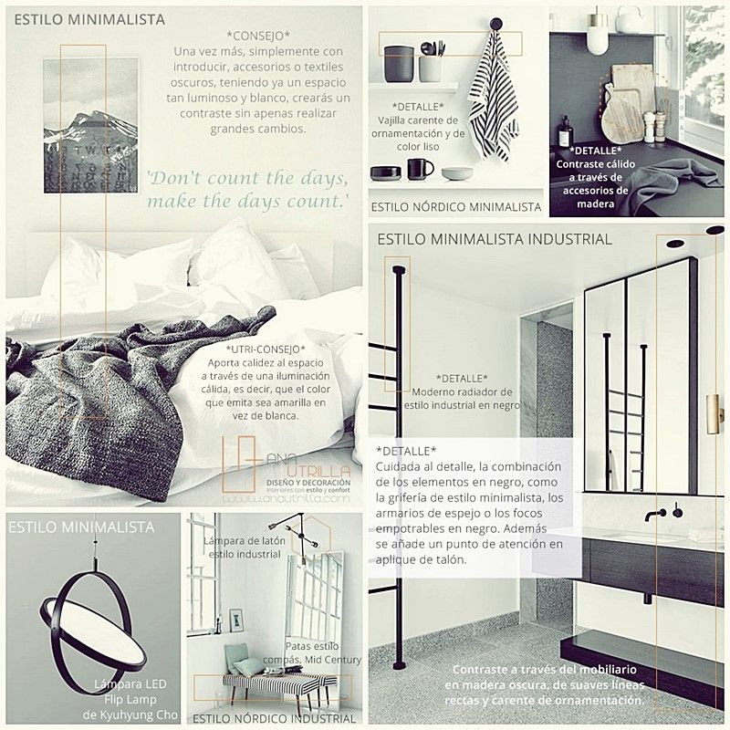 Cómo decorar interiores en blanco y negro inspirate con ejemplos y consejos de Ana Utrilla Diseño de Interiores ONline