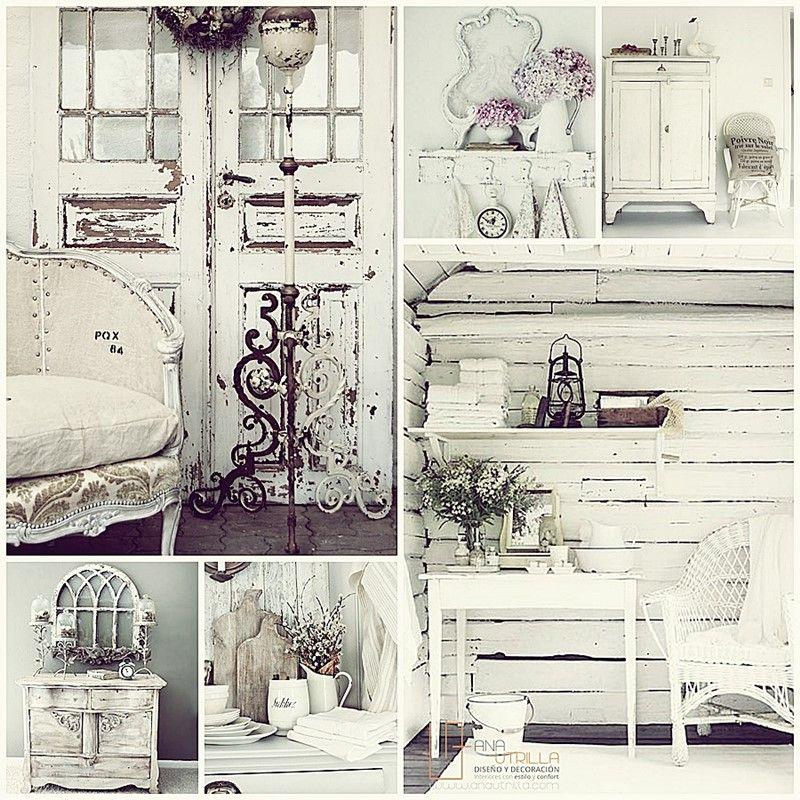 Utiliza el estilo shabby chic en decoración de interiores para crear atmósferas románticas y muy cálidas.