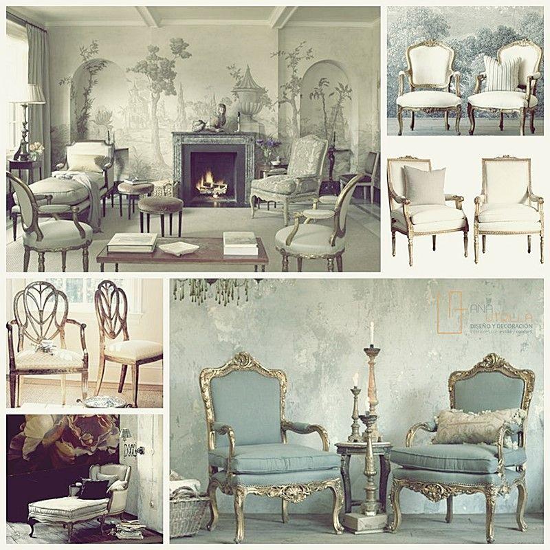 Mobiliario y ambientes de estilo francés clásico por Ana Utrilla Diseño de Interiores Online