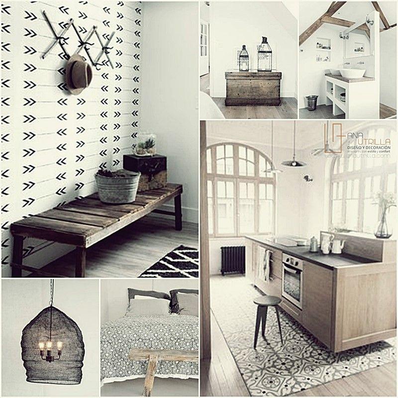 Espacios decorados con estilo rústico nórdico de tonos suaves y neutros por Ana Utrilla diseño de interiores Online