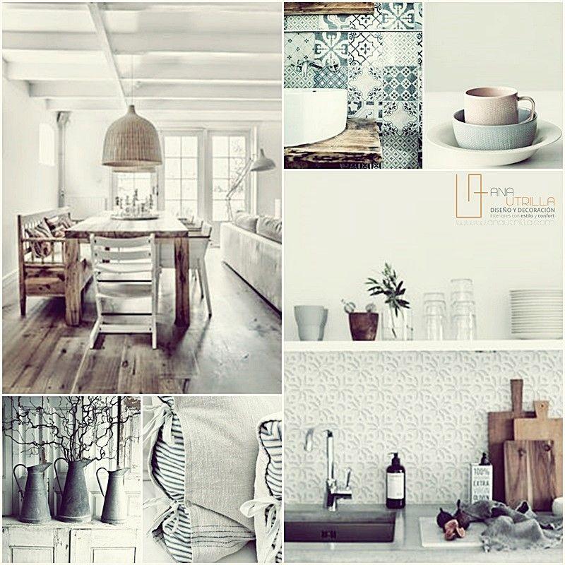 Estilo rústico en decoración de interiores del hogar como la cocina o el baño por Ana Utrilla Diseño de interiores online