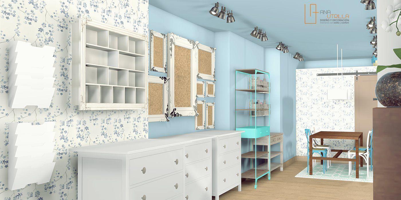 interiorismo comercial de tienda de scrapbooking por Ana Utrilla
