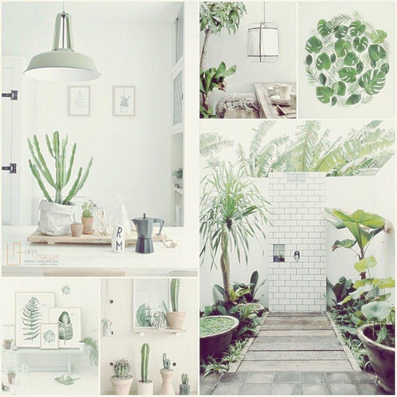 Ambientes veraniegos en tonos verde y blanco por Ana Utrilla
