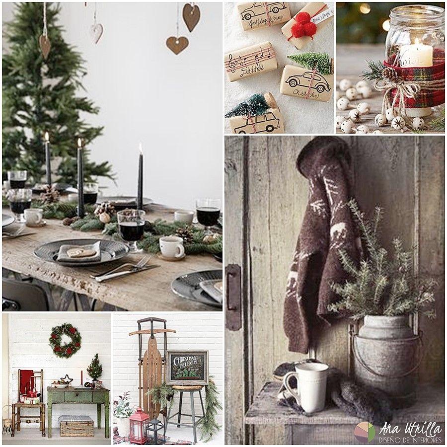 Ideas decoración para navidad de estilo rústico en colores tradicionales