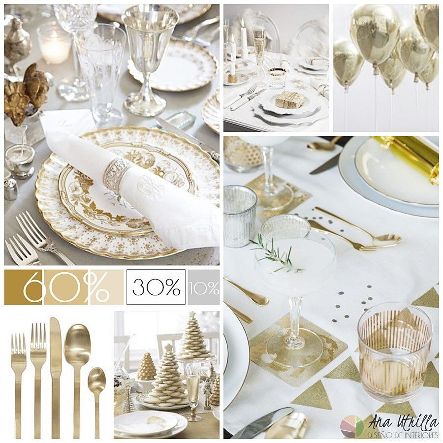 Golden New Year's table decoration