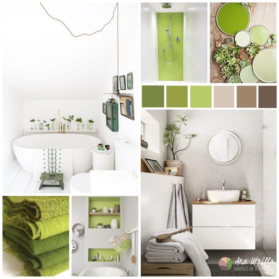 Espacios en tonos verde greenery como aseos y baños, decoración de interiores