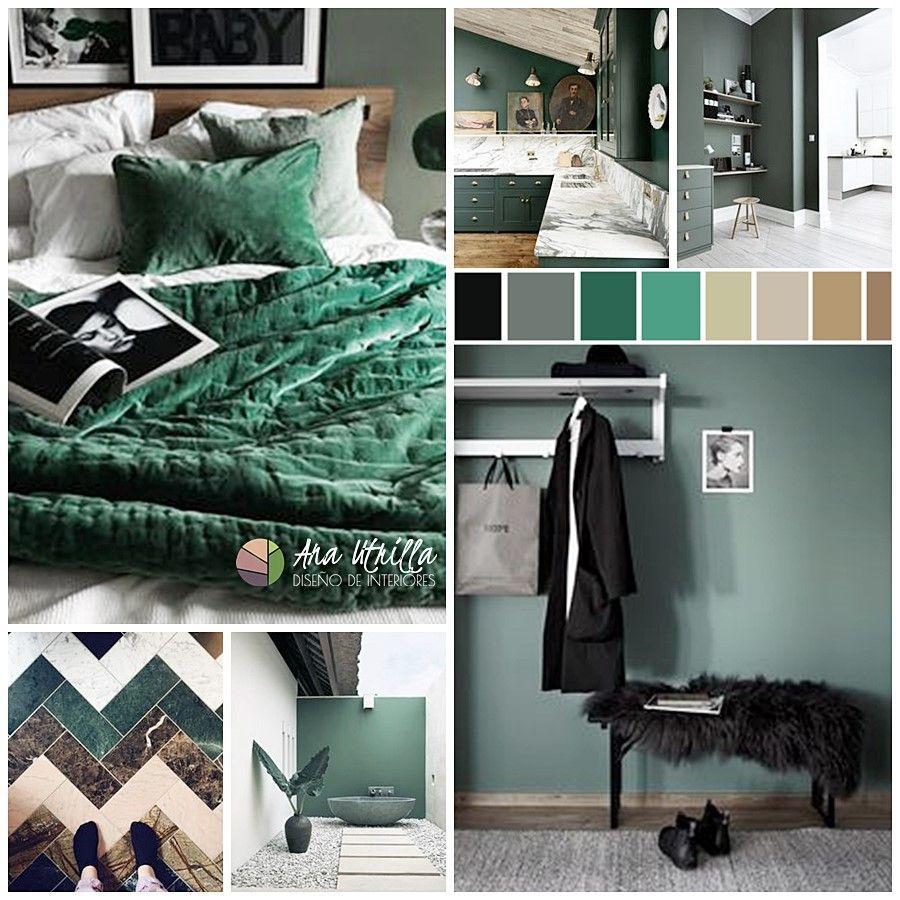 Moodboard para combinar el color verde en tu decoración de interiores por Ana Utrilla Interiorismo