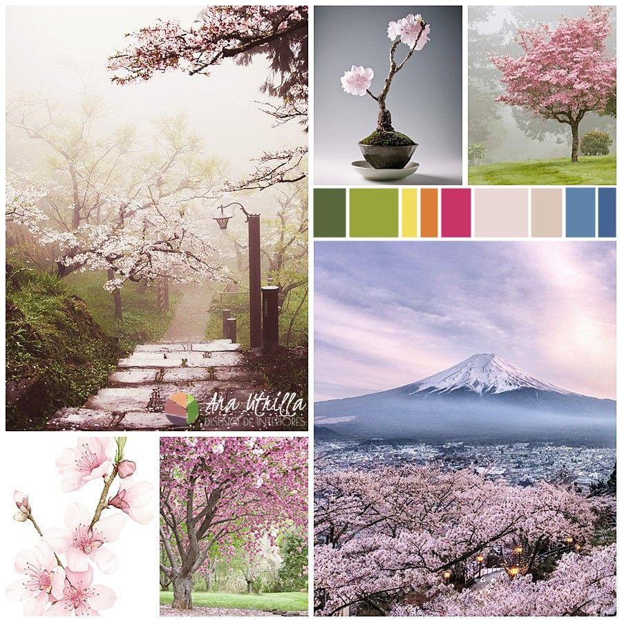 Sakuras, cerezo japonés en flor. Inspiración de colores pantone primavera 2017 por Ana Utrilla