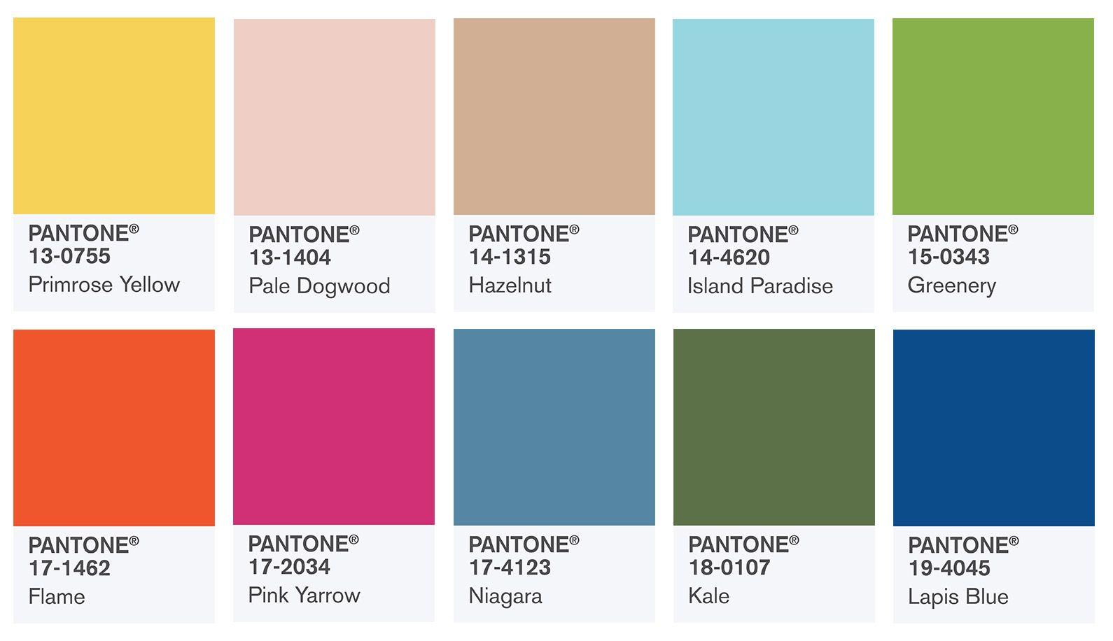 Gama de diez colores escogidos por Pantone para primavera verano 2017