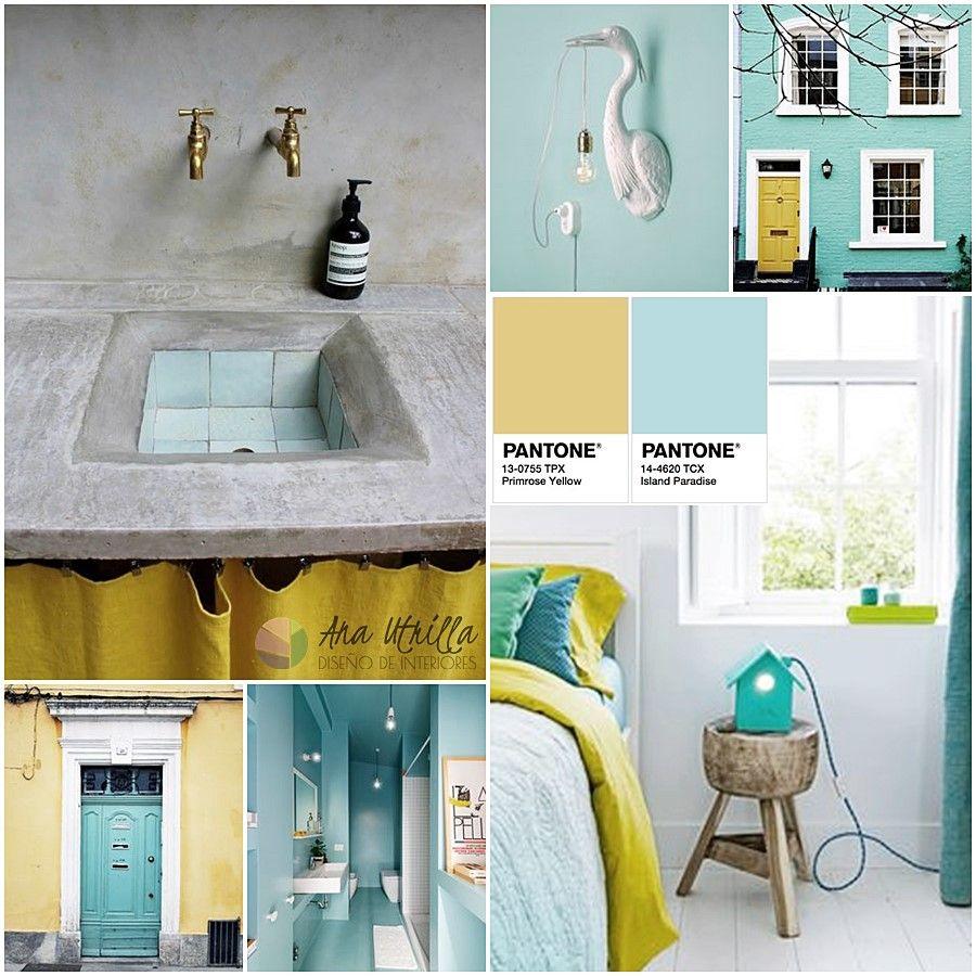 Decoración de interiores en amarillo primrose y azul Isla paradisiaca