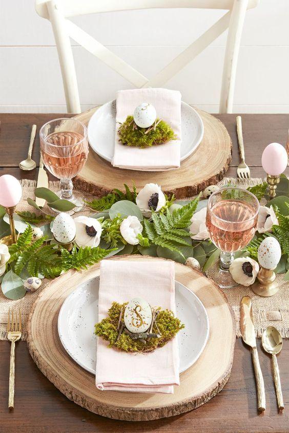 Decoración de mesa de estilo rústico chic para Pascua